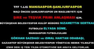 TFF 1. Lig'de şike bombası... Geçtiğimiz sezon TFF 1. Lig'e veda eden Şanlıurfaspor,şike iddiası nedeniyle TFF'ye müracaatta bulunmuştu.İşte aralarında Elyasa Süme,Gökhan Sazdağı ve İsmail Haktan Odabaşı gibi oyuncuların bulunduğu şike pazarlığı ve tape görüntüleri...