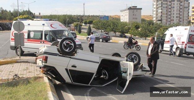 Esentepe'de otomobil devrildi