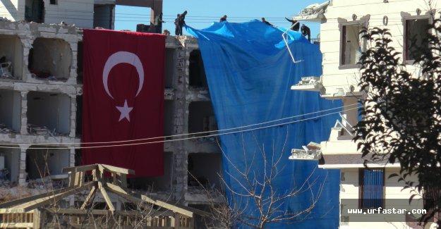 Patlamada hasar gören binalar branda ile kapatıldı