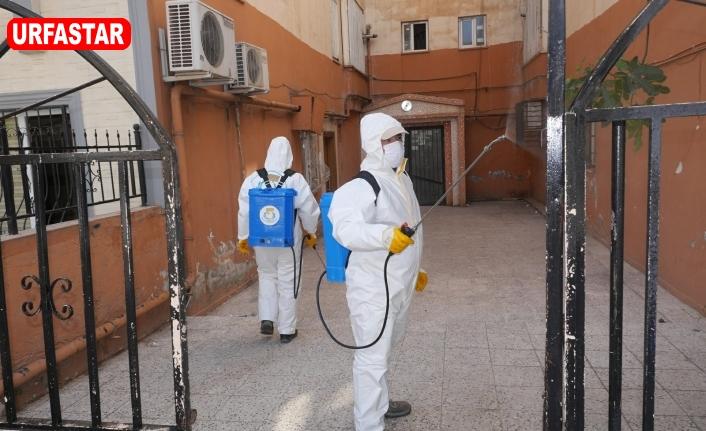 Haliliye'de bina girişleri dezenfekte ediliyor