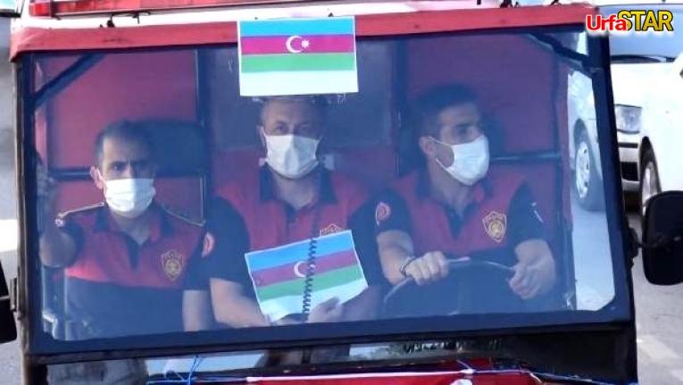 Urfa'da ki itfaiyecilerden Azeri Kardeşlere destek