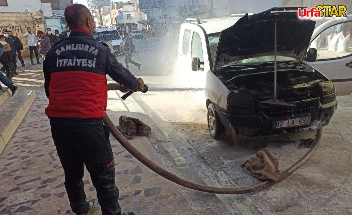 Suruç'ta araç seyir halinde yandı