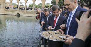 Davutoğlu, balıklara yem attı