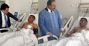 Özcan ve Özyavuz'dan yaralı askere ziyaret