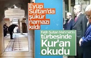 Erdoğan şükür namazı kılıp Kur'an okudu