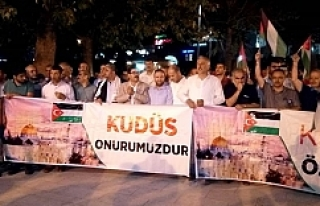 Urfa'da Kudüs'e destek çadırı kuruldu