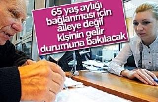 65 yaş düzenlemesi değiştirildi