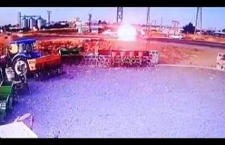 Siverek'te çarpışan iki araçtan alev topu...
