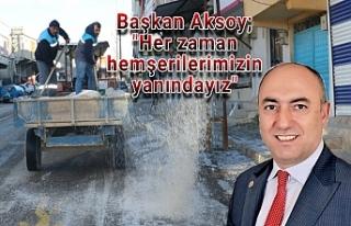Bozova Belediyesi ekipleri buzlanmayı önledi