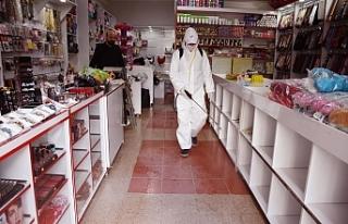 Hilvan'da esnaf dezenfekte edildi