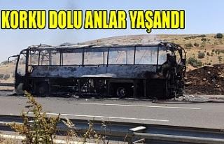 Urfa'da otobüs alev alev yandı