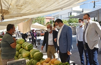 Siverek'te Kaymakam ve Belediye Başkanından maske denetimi