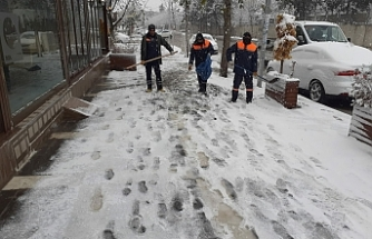 Siverek'te karla mücadele edildi