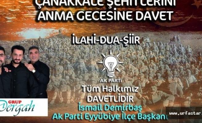 AK Parti Eyyübiye İlçe teşkilatı, Çanakkale Şehitlerini anacak