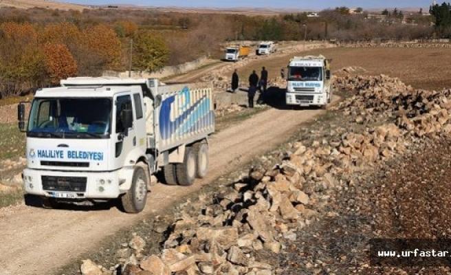 Haliliye'de yol yapım çalışmaları sürüyor