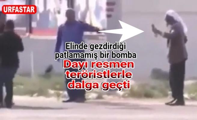 Akçakale'de elinde bombayla dolaştı!