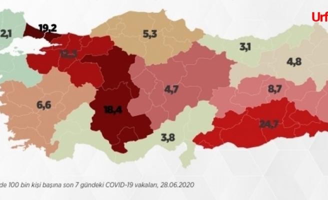 İşte Türkiye'nin koronavirüs vaka dağılımı…