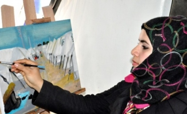 Suriyeliler resim atölyesinde Urfa'yı resmediyor