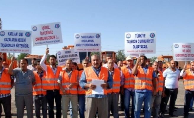 Taşeron işçilerinin eylemleri sürüyor