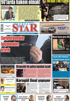 URFASTAR COM -Şanlıurfa Haberleri - 20.11.2015 Manşeti