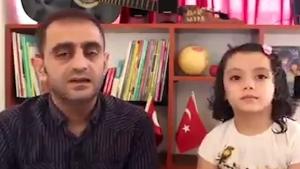 Suriyeli baba Türkçe öğrenen kızıyla seslendi